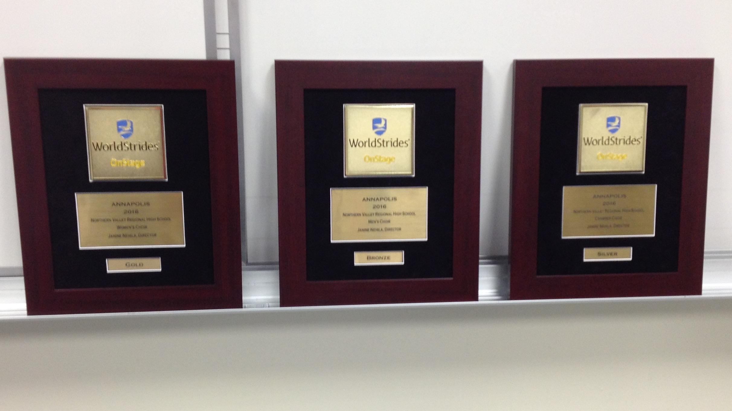 Awards from the 2016 music trip to Annapolis