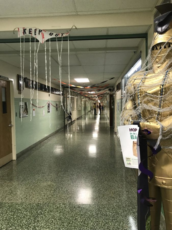 The Knight, and all of A hallway, decked out for Halloween.