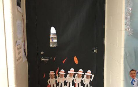 Ms. Hering's unfinished door in room F201. Doors will be judged on 12/22.