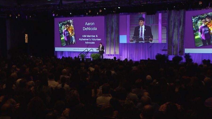DeNicola tells his story at the Alzheimer's Association Leadership Summit of 2018 in New Orleans, Louisiana