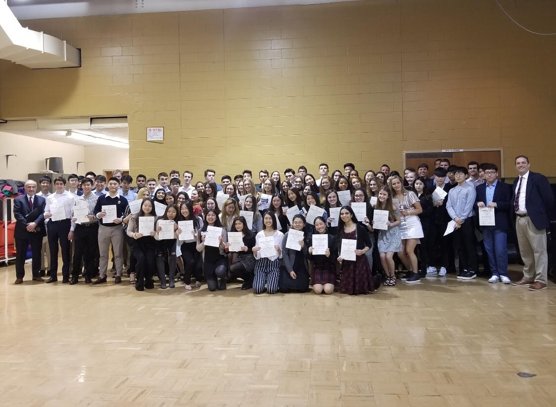 The NHS inductees after receiving their certificates.