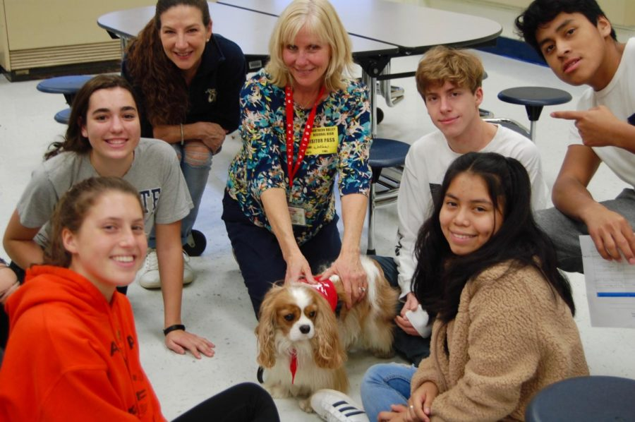 Group picture during therapy dog session.