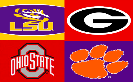 LSU, Georgia, Ohio State, and Clemson compete for the championship title.