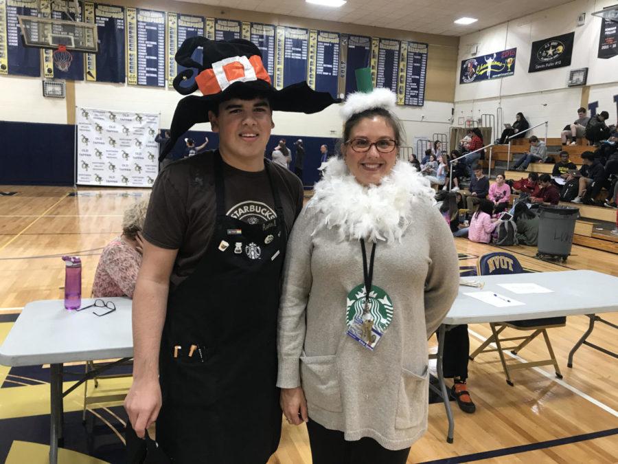 Senior Aaron DeNicola and Mrs. Eric Sposa(Halloween Starbucks)