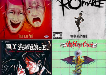 My Chemical Romance and Mӧtley Crüe album covers.