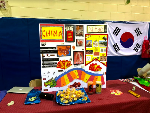 Decorated+poster+and+snacks+at+the+China+booth.