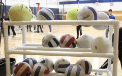 Volleyballs wait to be spiked into the gym floor.