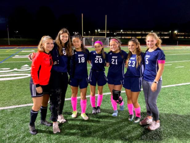 The Girls Soccer Team:  Arta Kyqykaliu, Emily Derrico, Cammy Chiu, Natasha Cahn, Abby Fitzhugh, Avry Regan, Emma Busch