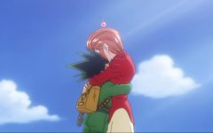 Gon hugs his caretaker, Mito, goodbye as he sets off to take the Hunter Exam.