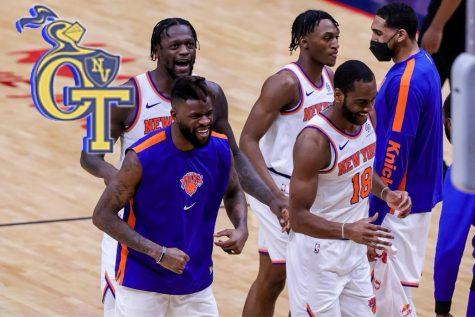 The New York Knicks celebrate their 41 wins this season.