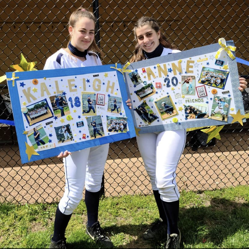 Kayleigh Murphy and Anne Pabst celebrating the end of their softball careers at NVOT.