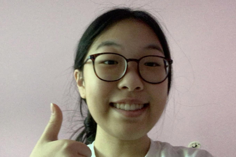 """Claire Yoo, virtual sophomore: """"I'm not looking forward to it because it's going to be so bad for my eyes just staring at a screen all day. I also think [that] since there's a month left of school, there's no point because none of my teachers are behind on their lessons or anything."""