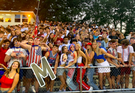 The student section at the first home football game of the year.